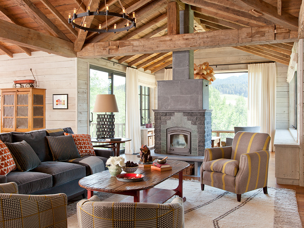 residential mountain home fireplace
